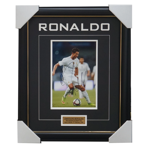 Cristiano Ronaldo Real Madrid Hand Signed Photo Framed with Plaque - 3237