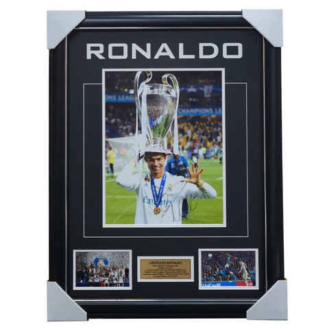 Cristiano Ronaldo Real Madrid Signed 2018 Champions League Photo Collage Framed - 3461