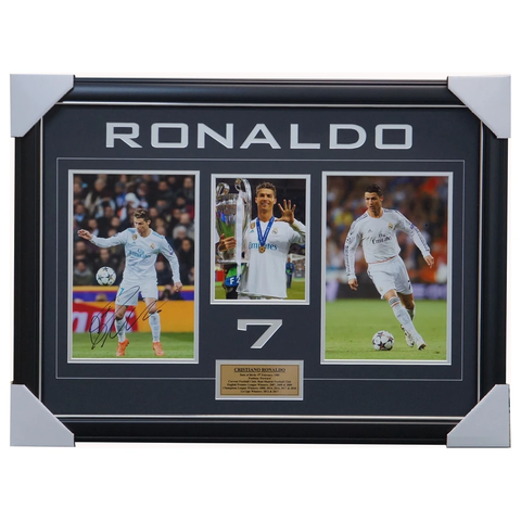 Cristiano Ronaldo Real Madrid Signed Photo Collage Framed - 3194