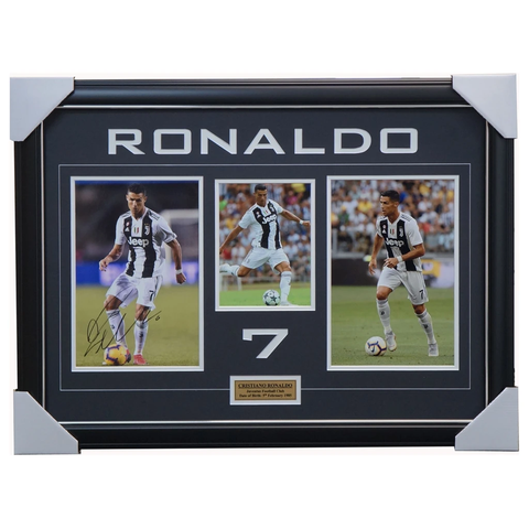 Cristiano Ronaldo Signed Juventus Football Club Photo Collage Framed with Plaque + COA - 3588
