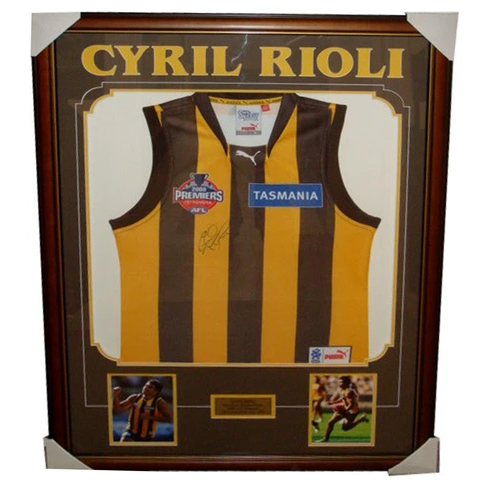 Cyril Rioli Hawthorn Premiership 2008 Jumper Signed Framed With Photos