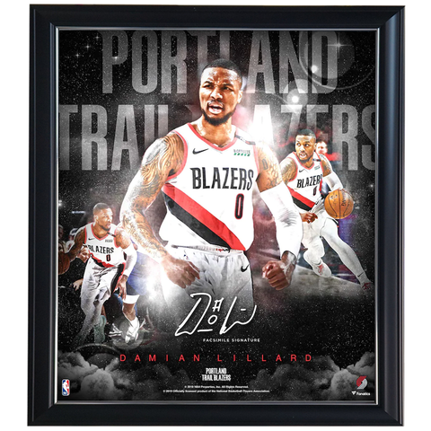 Damian Lillard Portland Trail Blazers Stars of the Game Collage Facsimile Signed Official NBA Print Framed - 4351