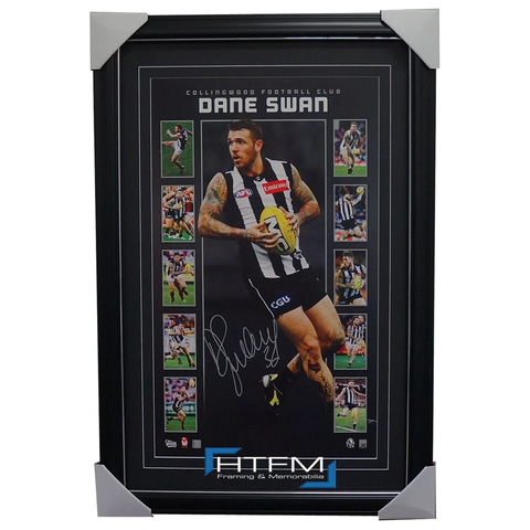 Dane Swan Signed Afl Collingwood Vertiramic Print Framed Official Memorabilia - 1854