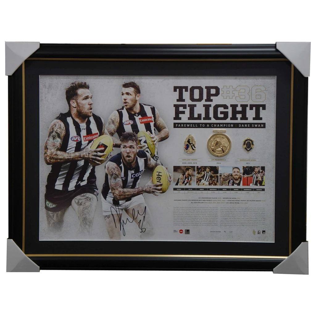 Dane Swan Signed Collingwood Top Flight Retirement Lithograph Framed with Medallions - 2933