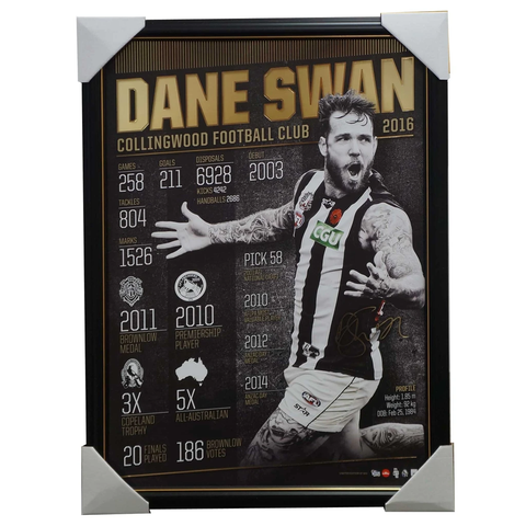 Dane Swan Signed Official Afl Collingwood Retirement Deluxe Print Framed - 2929