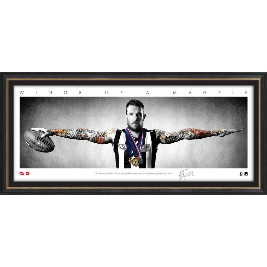 DANE SWAN SIGNED AFL OFFICIAL COLLINGWOOD MINI WINGS PRINT FRAMED 2011 BROWNLOW - 3150
