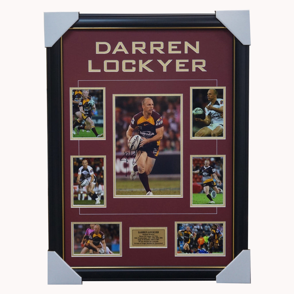 Darren Lockyer Brisbane Broncos Signed Photo Collage Framed - 3799
