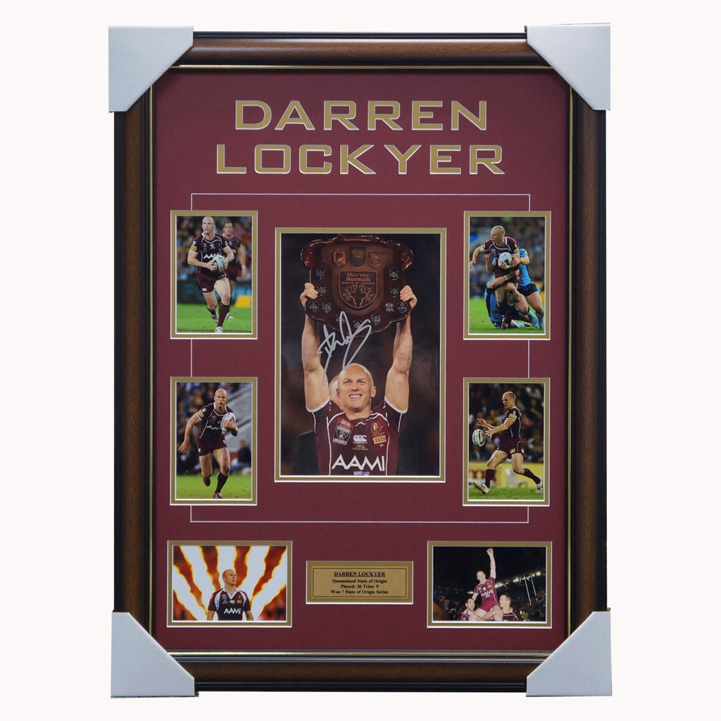 Darren Lockyer Queensland State of Origin Signed Photo Collage Framed - 3827