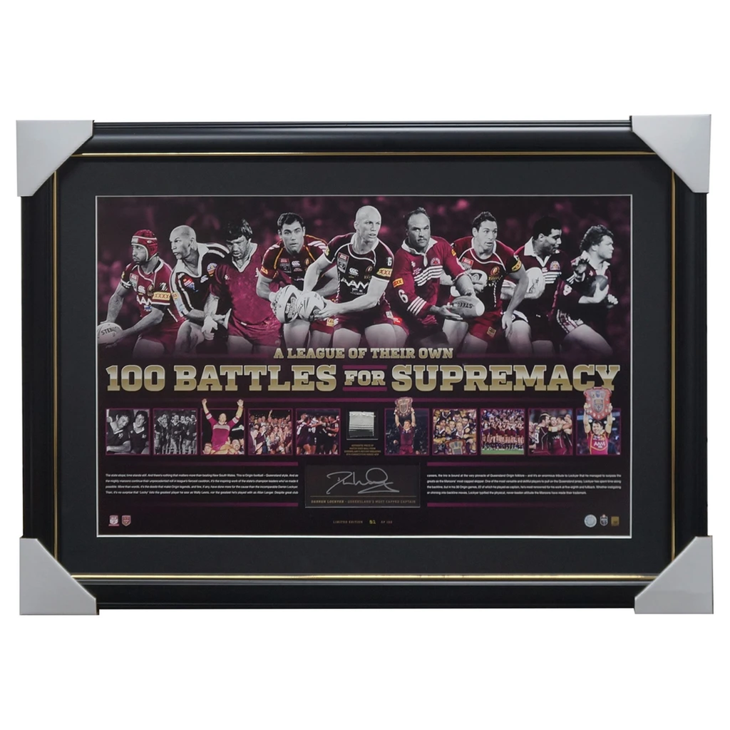 Darren Lockyer Signed Queensland State of Origin 100 Battles of Supremacy NRL Frame - 1947
