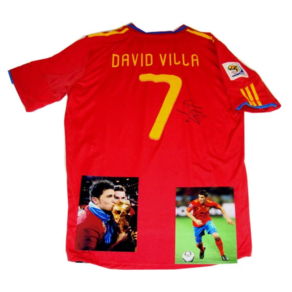 David Villa Spain 2010 World Cup Champions Signed Jersey - 3034