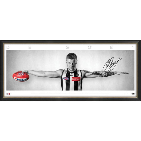 Jordan De Goey Signed Collingwood Full Size WINGS Official AFL Print Frame - 3760 In Stock Now