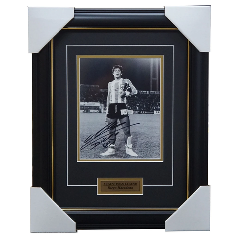 Diego Maradona Legend Signed Photo Framed W/plaque
