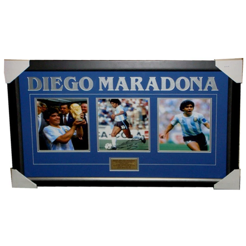 Diego Maradona Signed 3 Photo Collage Framed
