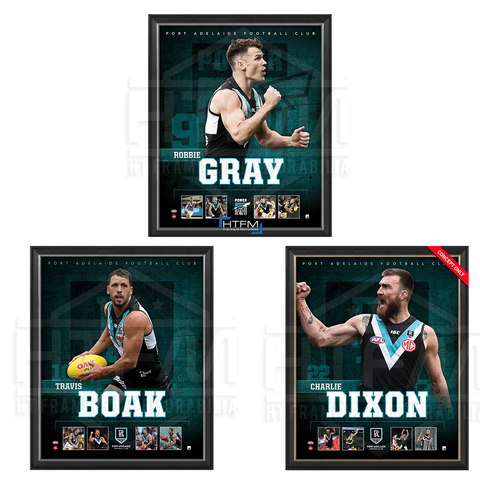 Port Adelaide Package Official Licensed Afl Prints Framed Dixon Gray Boak - 4494