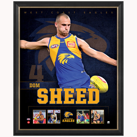 Dom Sheed West Coast Eagles F.c. Official Licensed Afl Print Framed New - 4488