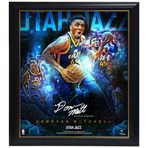 Donovan Mitchell Utah Jazz Facsimile Signature Official NBA Print Framed - 4471