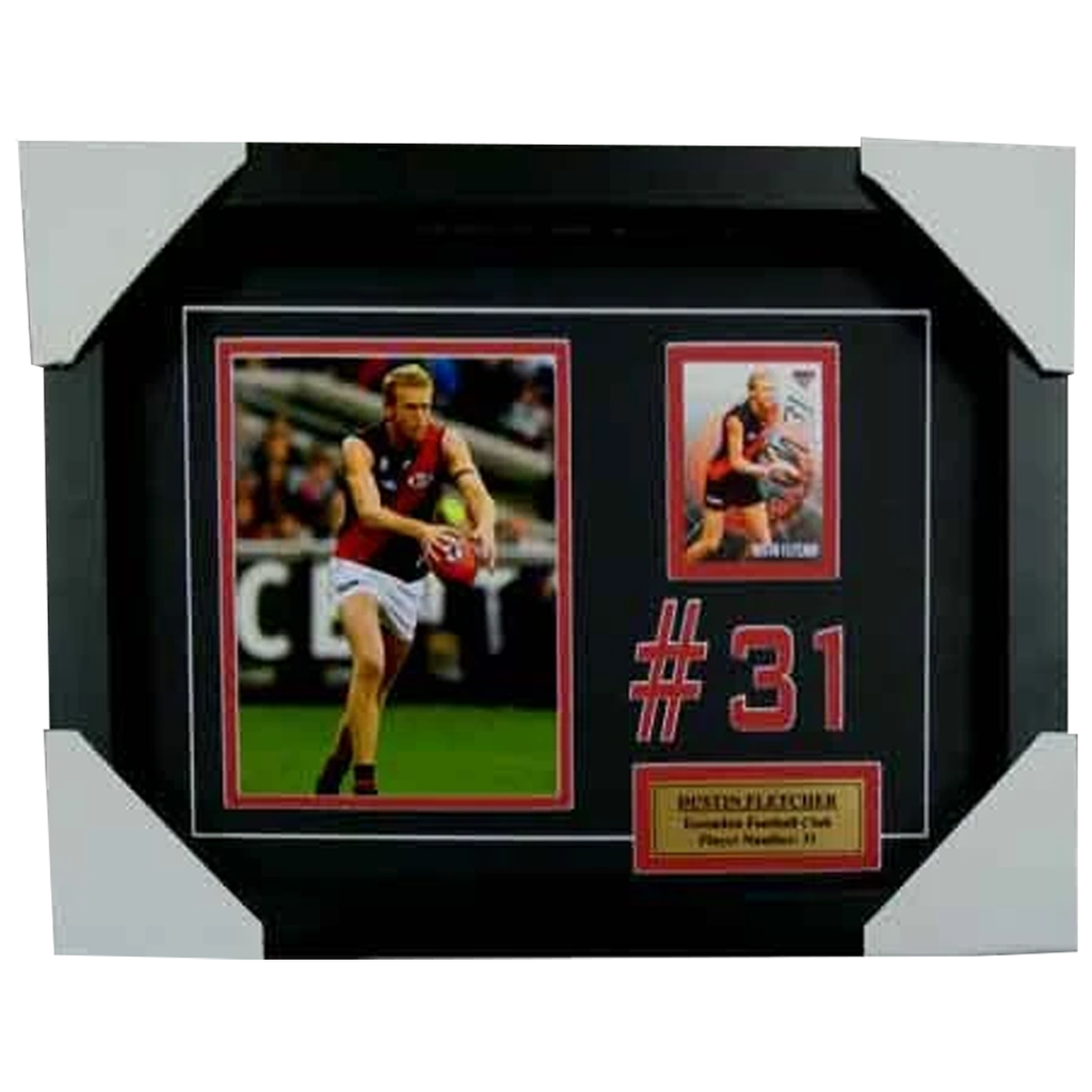 Dustin Fletcher Essendon Signed Card Collage Framed - 3994