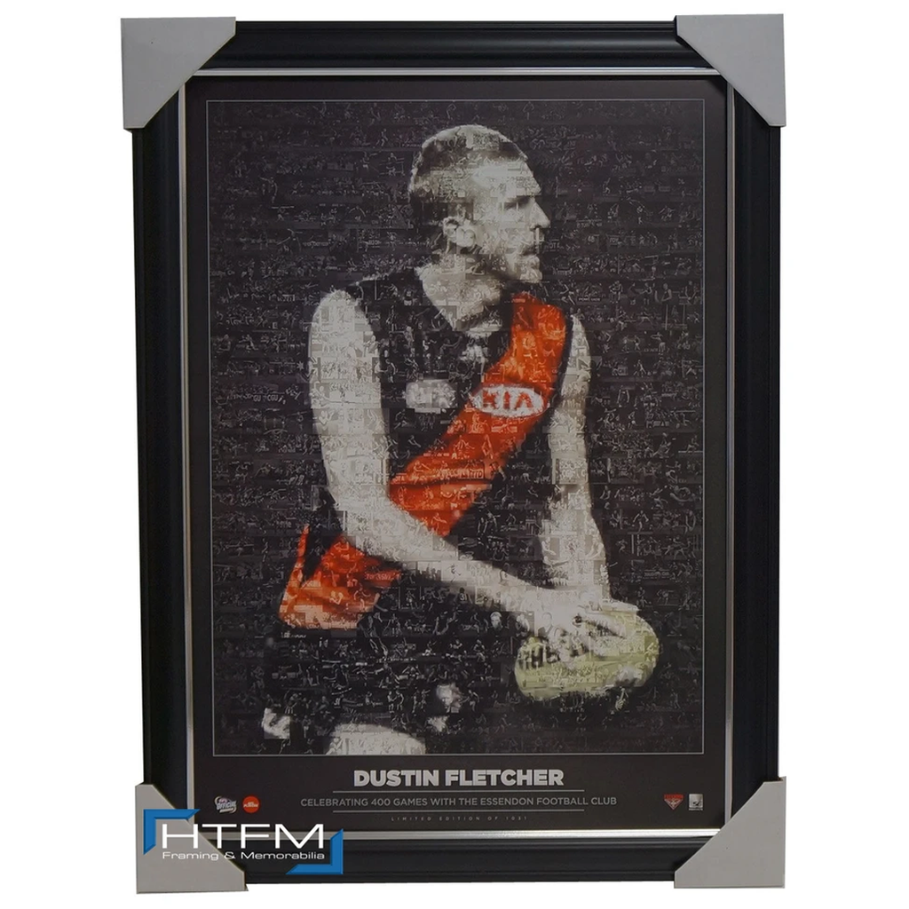 "Dustin Fletcher Unsigned ""The 400 Club"" Tribute Mosaic Print Framed Offical AFL - 2506"