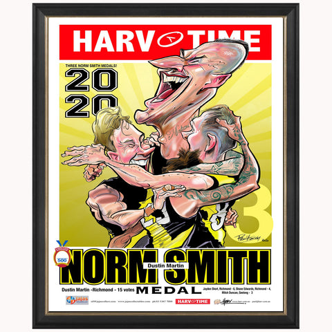 Dustin Martin Richmond 2020 Norm Smith Medal L/e Harv Time Print Framed Dusty - 4665