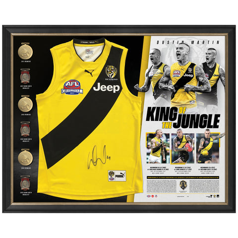 Dustin Martin Signed AFL Premiers Deluxe Official Guernsey Display - 4672