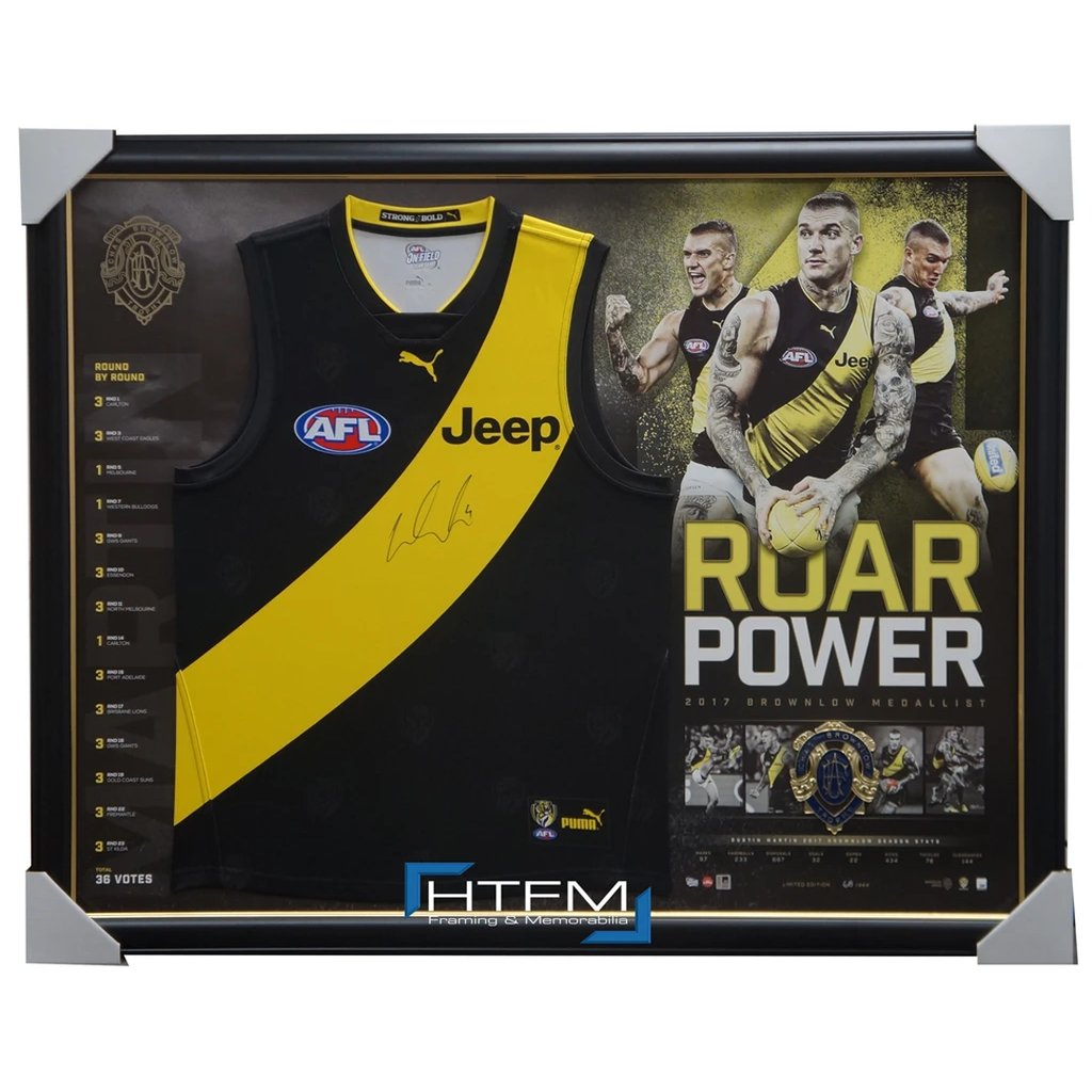 Dustin Martin Signed 2017 Brownlow Medallist Official Afl Jumper Framed Dusty - 3179 in Stock Now