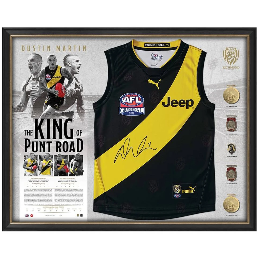 Dustin Martin Signed Official AFL 2019 Premiers Richmond Deluxe Jumper Framed with Medallions - 3885