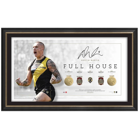 Dustin Martin Signed Official Afl 2019 Premiers Richmond Full House Frame With Medallions - 3886