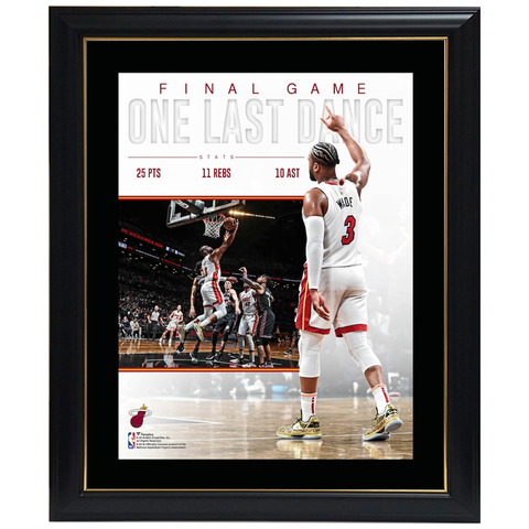 Dwyane Wade Miami Heat Final Game Sublimated Plaque Official Nba Print Framed - 4421
