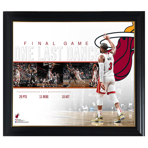 Dwyane Wade Miami Heat Game Collage Facsimile Signed Official Nba Print Framed - 4327