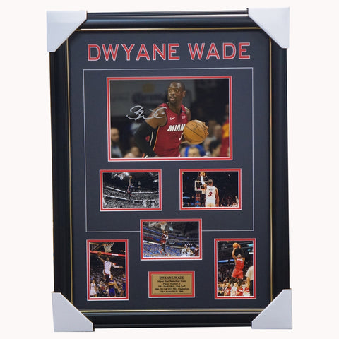 Dwyane Wade Miami Heat Signed NBA Photo Collage Framed - 3718