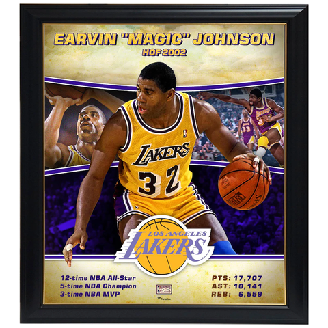 "Earvin ""Magic"" Johnson Los Angeles Lakers Player Collage Facsimile Signed Official Nba Print Framed - 4331"