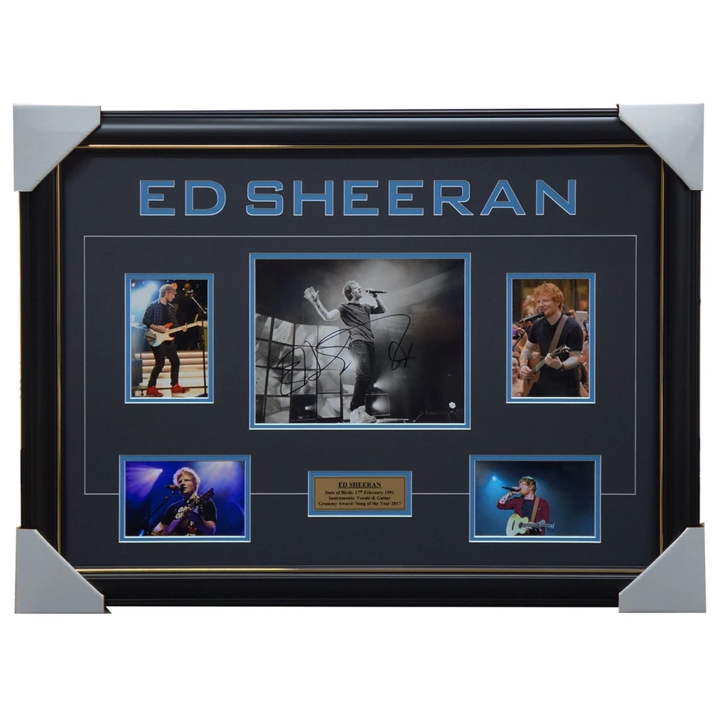 Ed Sheeran Hand Signed photo collage framed with plaque - 3248