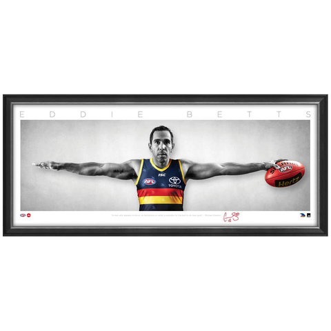 Eddie Betts Signed Adelaide Crows Mini Wings Official AFL Print Framed 300 Games NEW - 3747