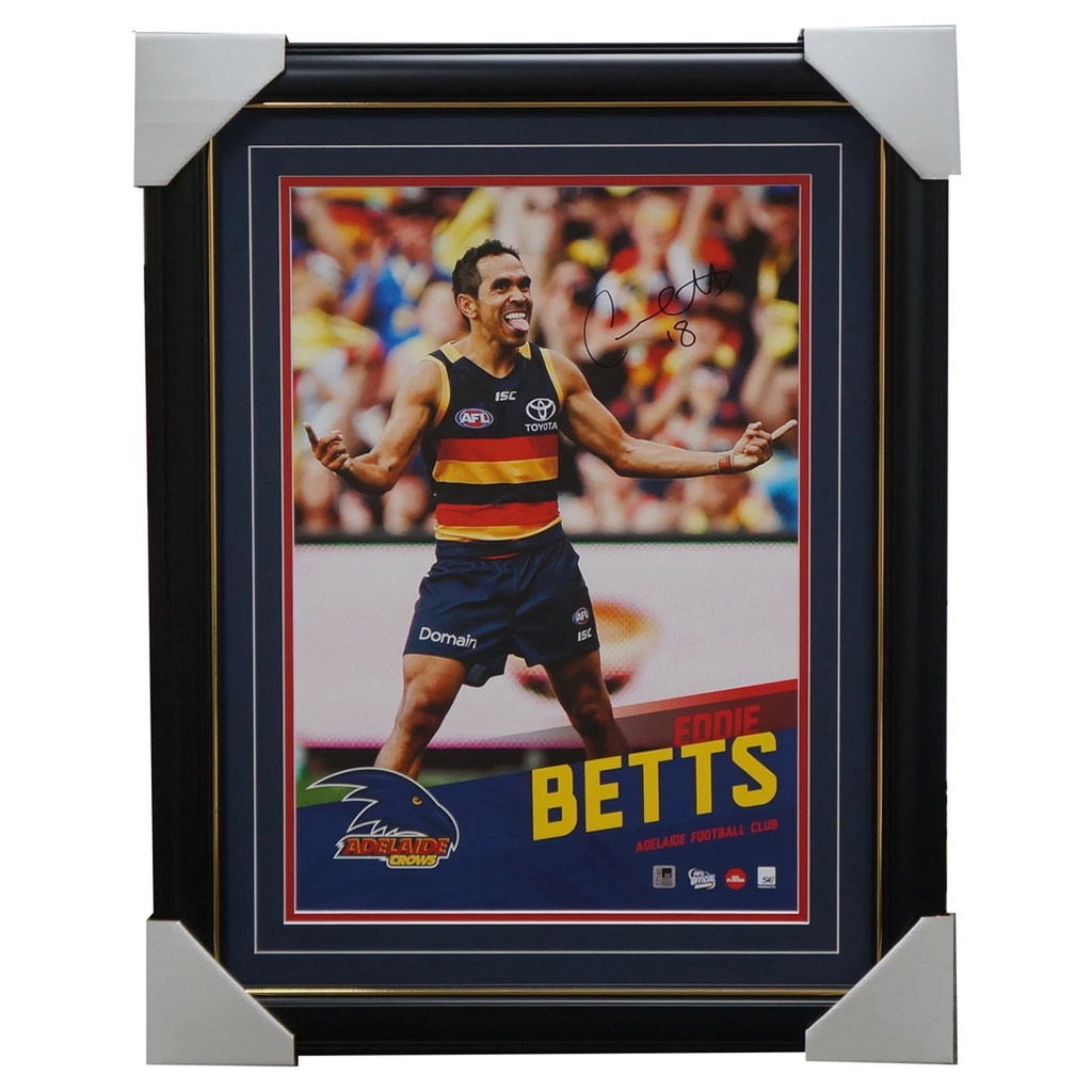 Eddie Betts Signed Adelaide Crows Official AFL Vertiramic Print Framed - 3116