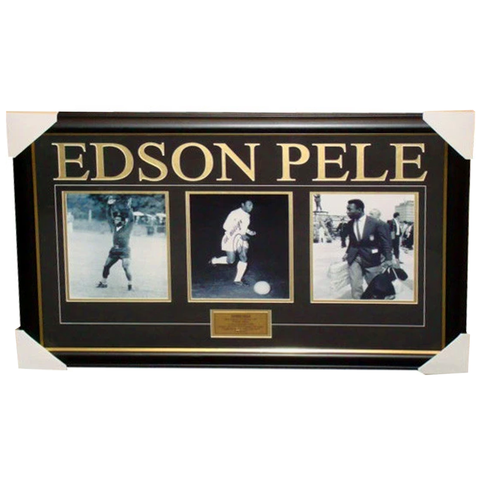 Edson Pele Signed Collage  Brasil 3 Photo Collage Framed - 2650