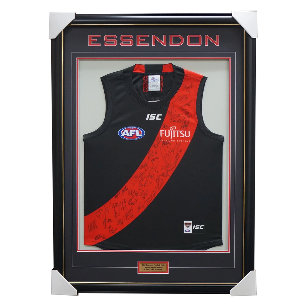 Essendon 2018 Signed Official Afl Team Jumper Framed Dyson Heppell Daniher + Coa - 3404