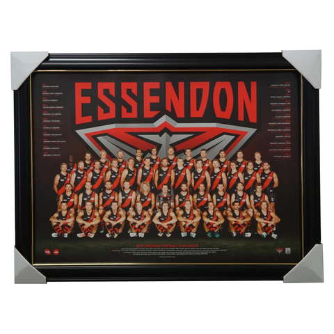 Essendon Bombers 2017 Official Afl Team Print Framed Watson Heppell - 3023