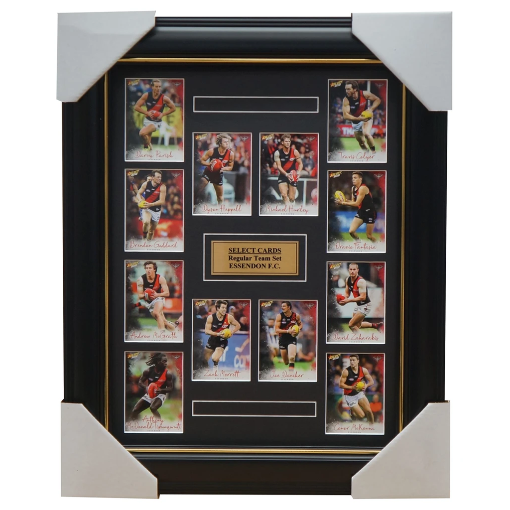 Essendon Bombers 2018 Select Card Team Set Framed Zach Merrett Dyson Heppell - 3355