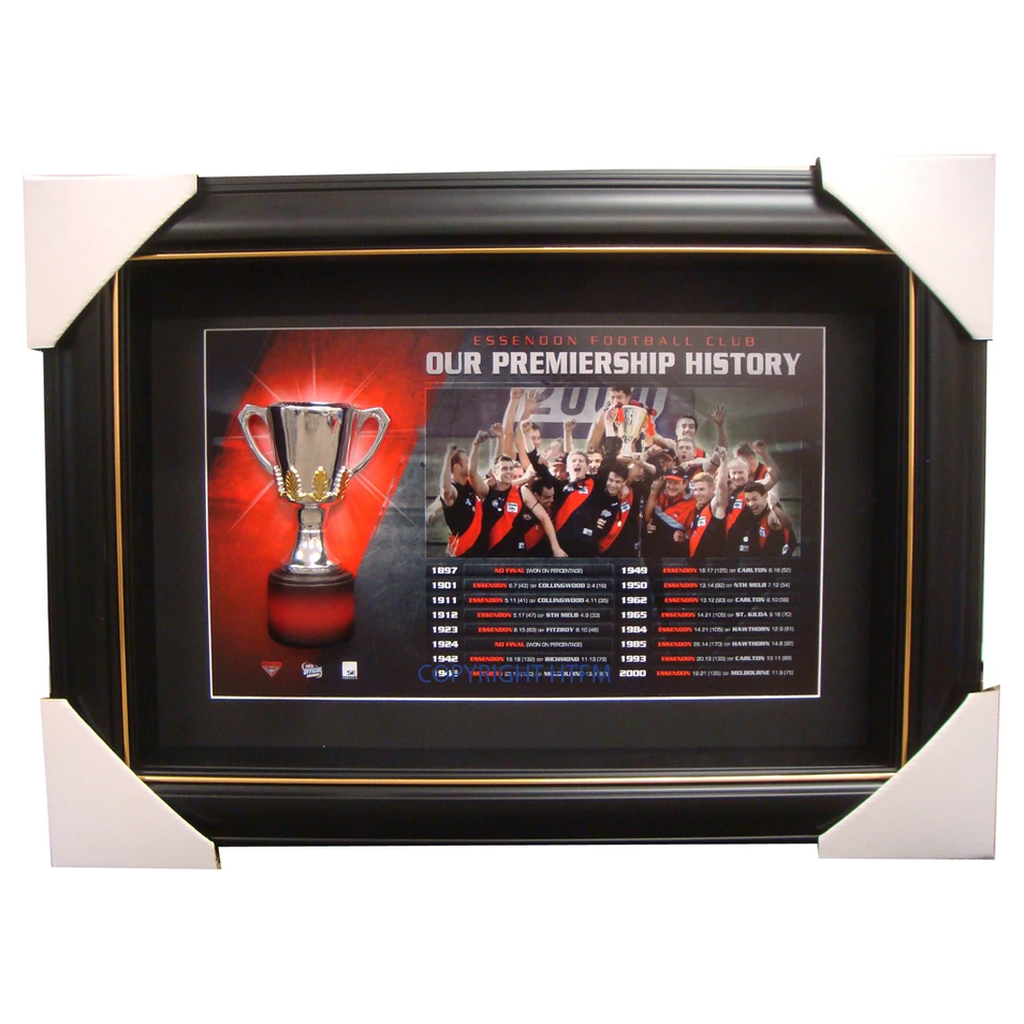 Essendon Bombers Limited Edition Premiership Box Framed with Replica Half Cup - 1501