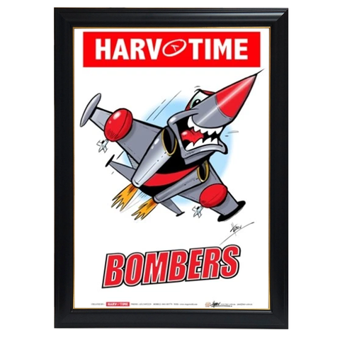 Essendon Bombers Mascot Print, Harv Time Print Framed - 4176