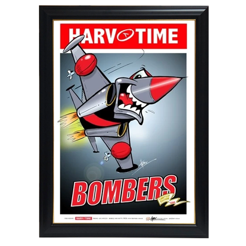 Essendon Bombers Mascot, Harv Time Print Framed - 4248