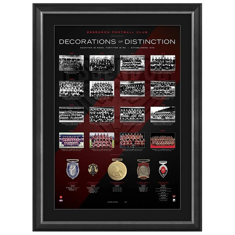 Essendon Football Club Decorations of Destinction with 5 Medals Framed - 3922