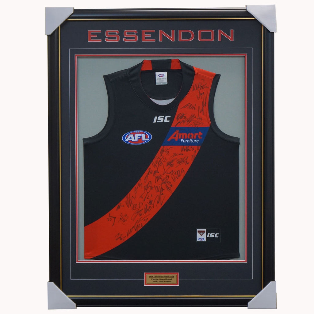 Essendon 2019 Signed Official AFL Team Jumper Framed Heppell Smith Daniher + COA - 3644