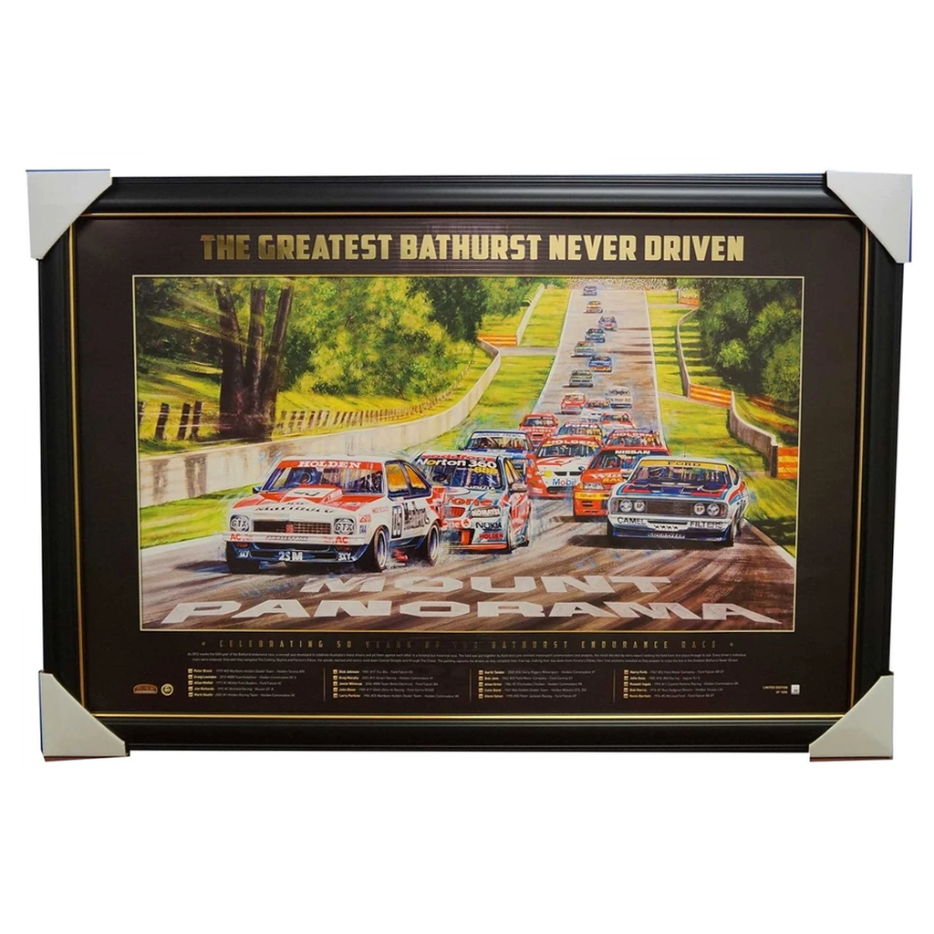 FORD HOLDEN BATHURST 50TH YEAR GREATEST RACE NEVER DRIVEN FRAMED PRINT BROCK - 1945