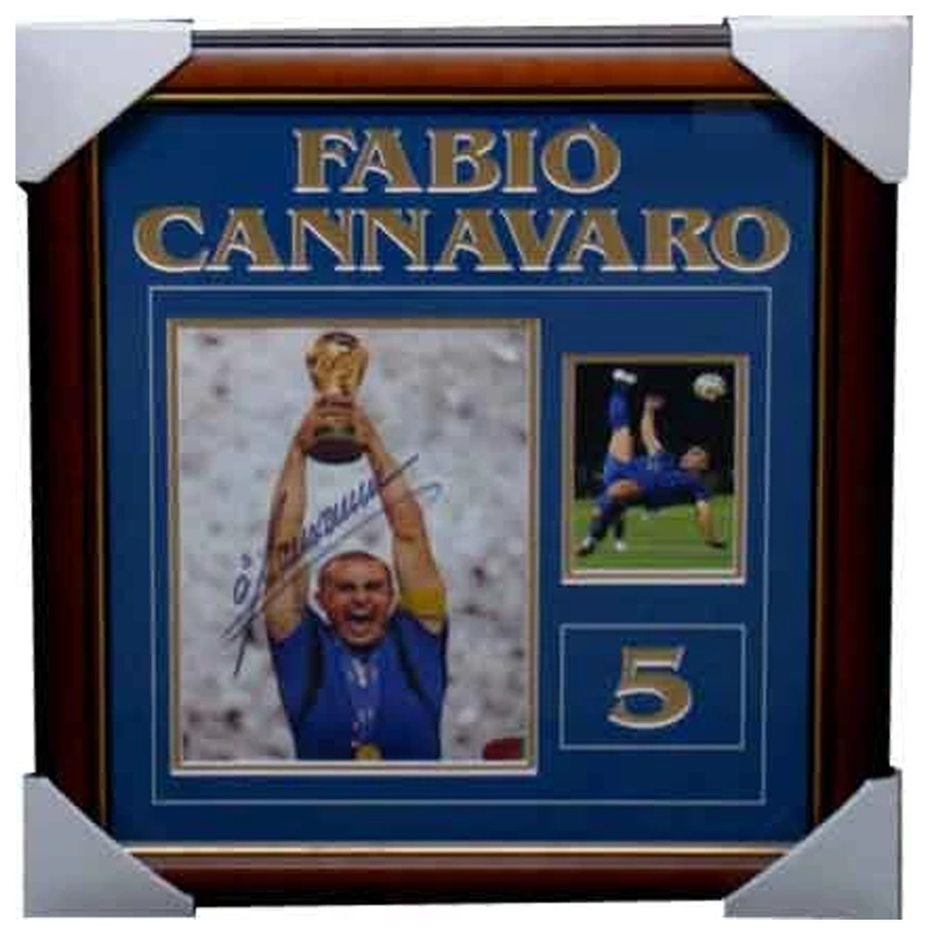 Fabio Cannavaro Signed Dual World Cup Photo Collage Framed - 1600