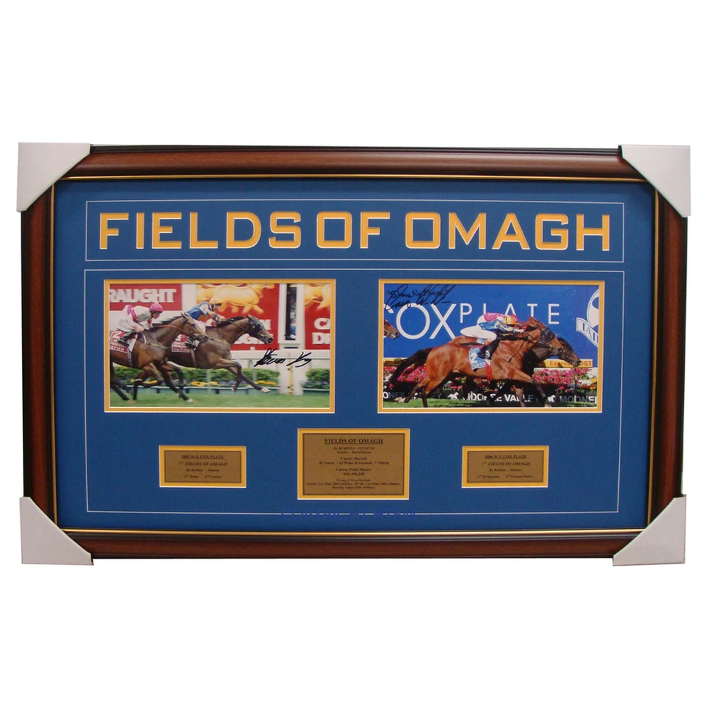 Fields Of Omagh Dual Signed 2003 & 2006 Cox Plate Collage Framed - 1603
