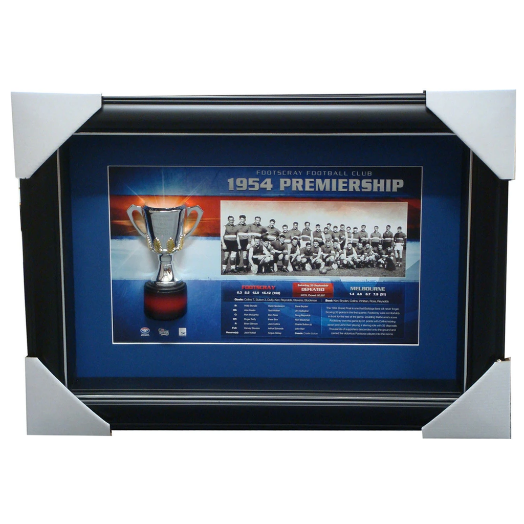 Footscray Premiership History VFL Print with Replica Half Cup Box Framed SUTTON - 2714