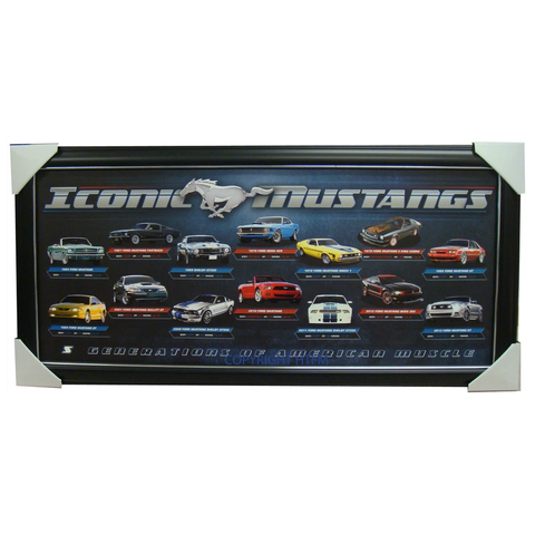 Ford Iconic Mustangs Limited Edition Official Print Framed - 1599