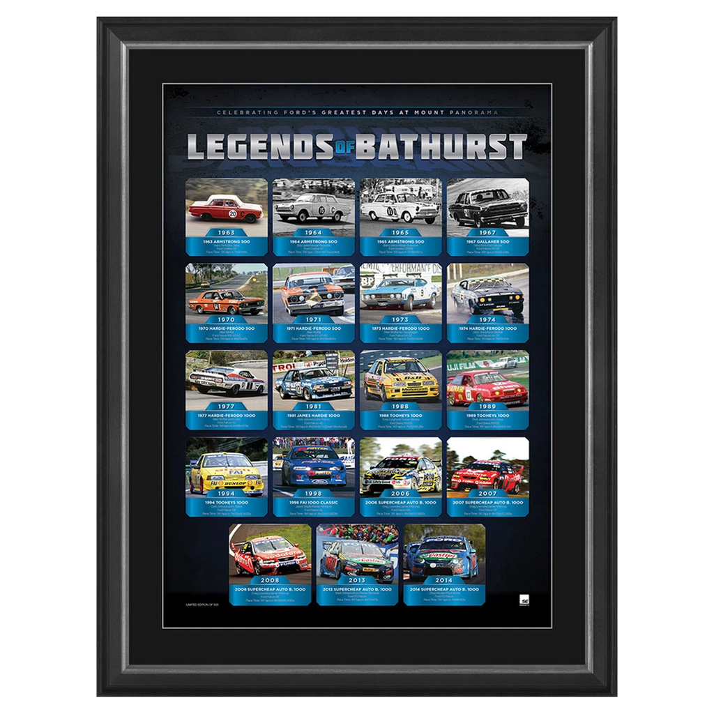 Ford V8 Legends of Bathurst Official Limited Edition Print Framed Brand New - 3070