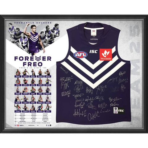 Fremantle Dockers 25 Year Team Signed Forever Freo Official AFL Jumper Framed - 4338